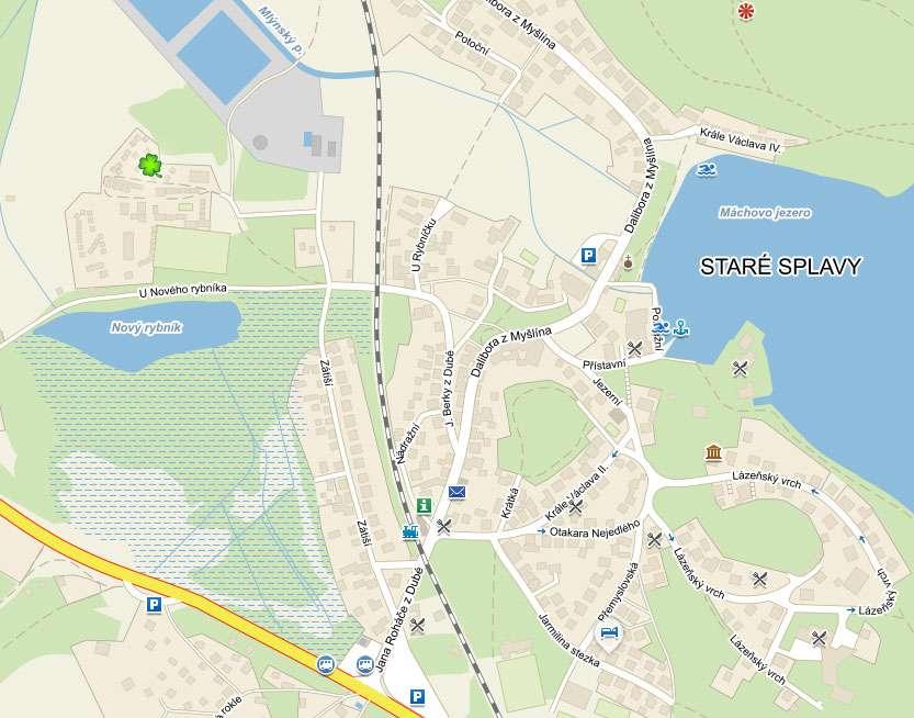 Mapa místa Chatové osady Čtyřlístek u Máchova jezera